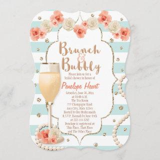 Coral and Aqua Brunch and Bubbly Bridal Shower Invitations