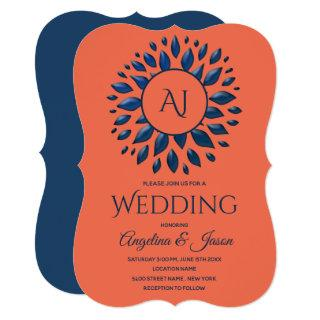 Coral and Blue Modern Giant Monogram Wedding Invitations