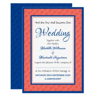 CORAL AND BLUE Personalized Wedding Invitation