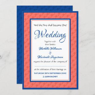 CORAL AND BLUE Personalized Wedding Invitations