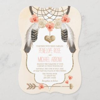Coral and Gold Dreamcatcher Wedding