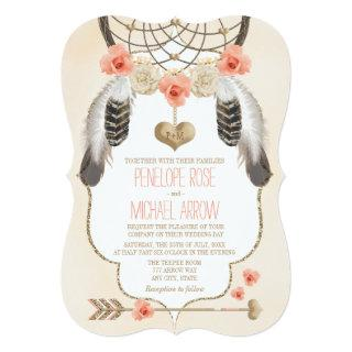 Coral and Gold Dreamcatcher Wedding Invitations
