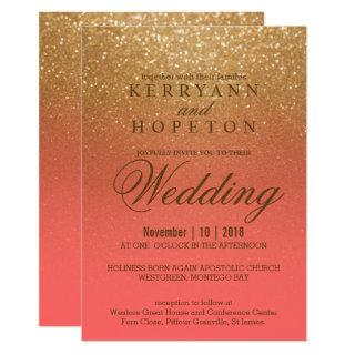 Coral and Gold Glitter Invitations