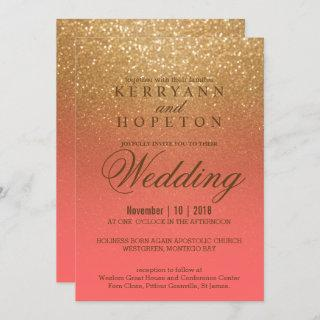 Coral and Gold Glitter Invitation