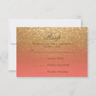 Coral and Gold Glitter - RSVP