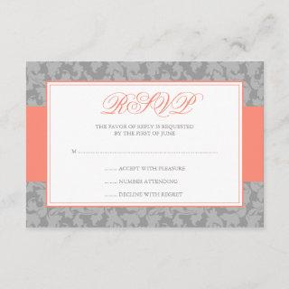 Coral and Gray Damask Swirl Wedding RSVP
