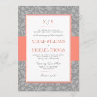 Coral and Gray Damask Wedding Invitations