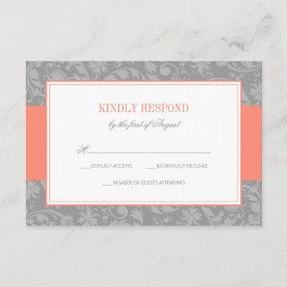 Coral and Gray Damask Wedding RSVP