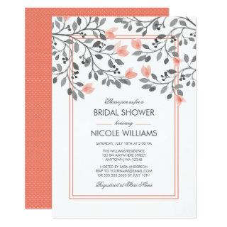 Coral and Gray Floral Watercolor Bridal Shower Invitations