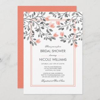 Coral and Gray Floral Watercolor Bridal Shower
