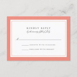 Coral and Gray Simple Border Wedding RSVP Card