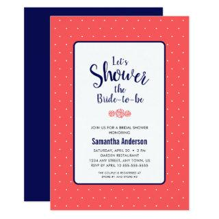 Coral and Navy Blue Bridal Shower Invitation