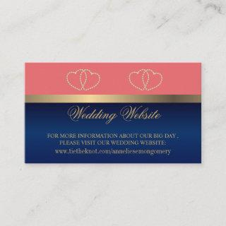 Coral and Navy Blue Gold Hearts Website Enclosure Card