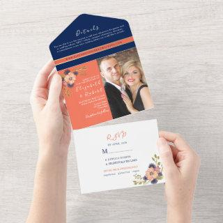 Coral and Navy Blue Photo Wedding All In One Invitations