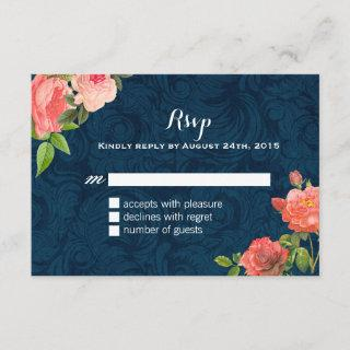 Coral and Navy Blue Shabby Chic RSVP Cards
