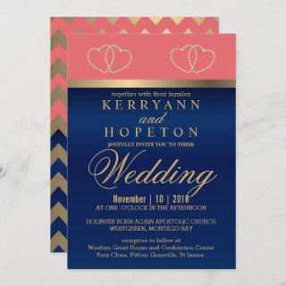 Coral and Navy Blue with Gold Hearts - Custom Invitations
