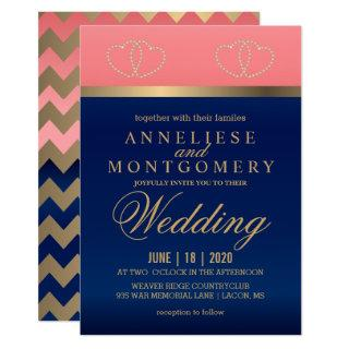 Coral and Navy Blue with Gold Hearts - Invitations