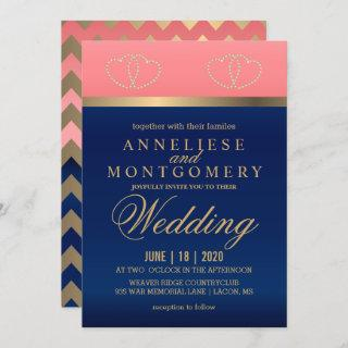 Coral and Navy Blue with Gold Hearts - Invitation