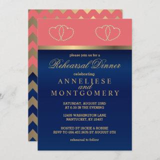 Coral and Navy, Gold Hearts - Rehearsal Dinner