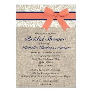 Coral and Navy Ribbon Rustic Bridal Shower Invitations