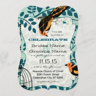 Coral and Teal Art Deco Inspired Birds Invitations