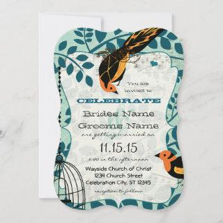 Coral and Teal Art Deco Inspired Birds
