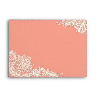 Coral and White Lace Wedding Envelopes