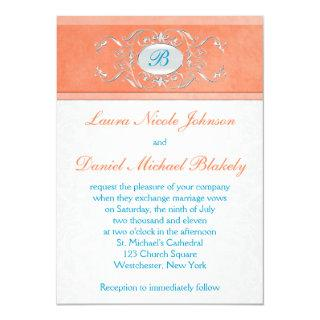 Coral, Aqua Blue, Gray Damask Monogram Invite