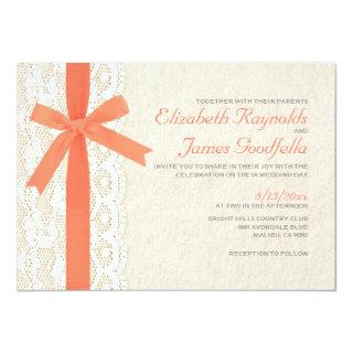 Coral Bow & Lace Wedding Invitations