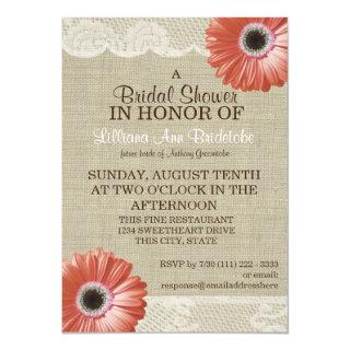 Coral Daisy and Lace Bridal Shower Invitation