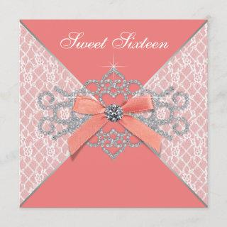 Coral Diamonds Coral Sweet 16 Birthday Party Invitations
