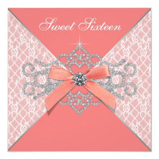 Coral Diamonds Coral Sweet 16 Birthday Party Invitation