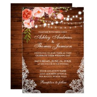 Coral Floral Rustic Wedding Wood Lights Lace Invitations