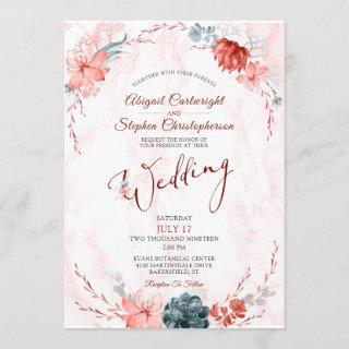 Coral Floral Succulent Marble Wedding Invitations