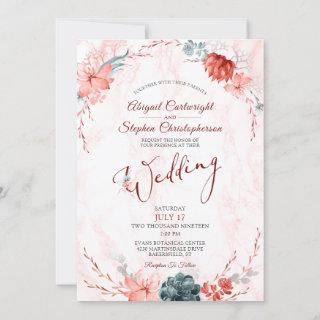 Coral Floral Succulent Marble Wedding
