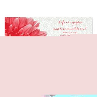 Coral Gerber Daisy Lace Bridal Shower Invitation