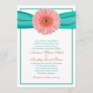 Coral Gerbera Turquoise Ribbon Wedding Invitations