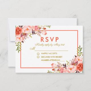 Coral Gold Watercolor Floral RSVP Wedding