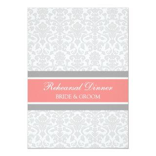 Coral Gray Damask Rehearsal Dinner Party Invitation