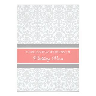 Coral Gray Damask Wedding Vow Renewal Invitations