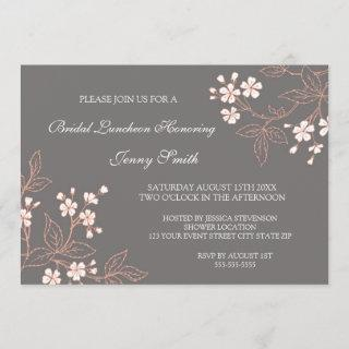 Coral Gray Floral Bridal Lunch Invitations Cards