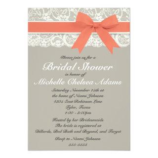 Coral Gray Lace Bridal Shower Invitations