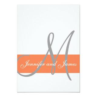 Coral Gray Wedding Invitation | Monogram Names