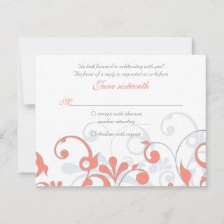 Coral Gray White Abstract Floral Wedding RSVP Card