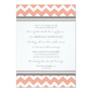 Coral Grey Chevron Rehearsal Dinner Party Invitations