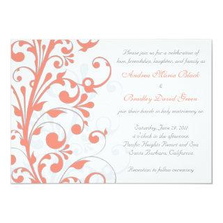 Coral, Grey White Floral Wedding Invitations