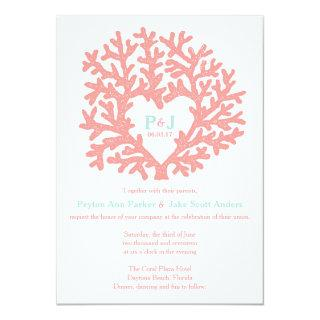 Coral Heart Aqua Beach Wedding Invitations