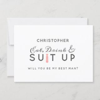Coral Kiss Ombre Watercolor Boho Best Man Proposal Card