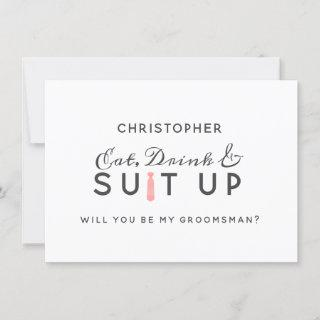 Coral Kiss Ombre Watercolor Groomsman Proposal Card