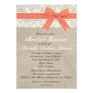Coral Lace Burlap Bridal Shower Invitations